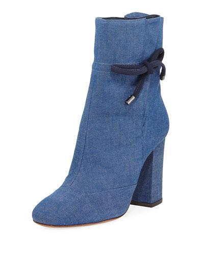 Evelinne Denim Ankle-Tie Bootie