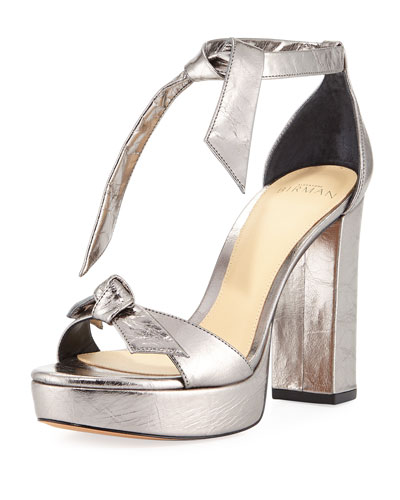 Mabeleh Metallic Leather Platform Sandal