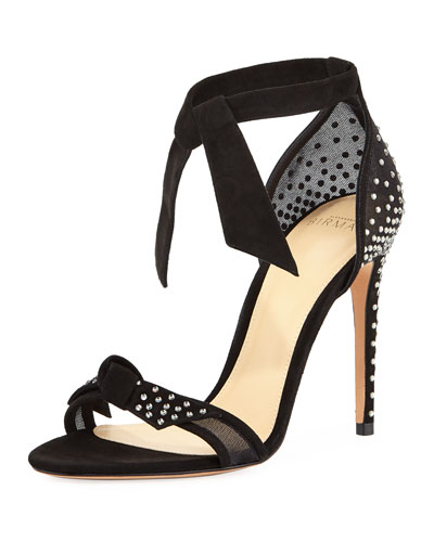 Clarita Jeweled Ankle-Tie Sandal