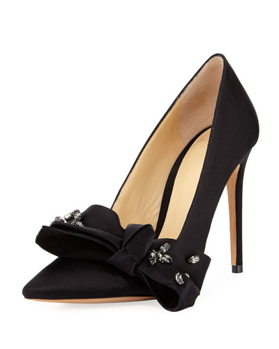 Gaya Bow-Embellished Suede Pump