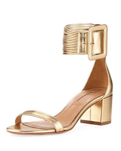 Casa Blanca Metallic Ankle-Cuff Sandal