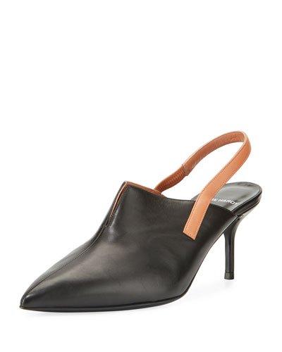 Point-Toe Leather Slingback Pump