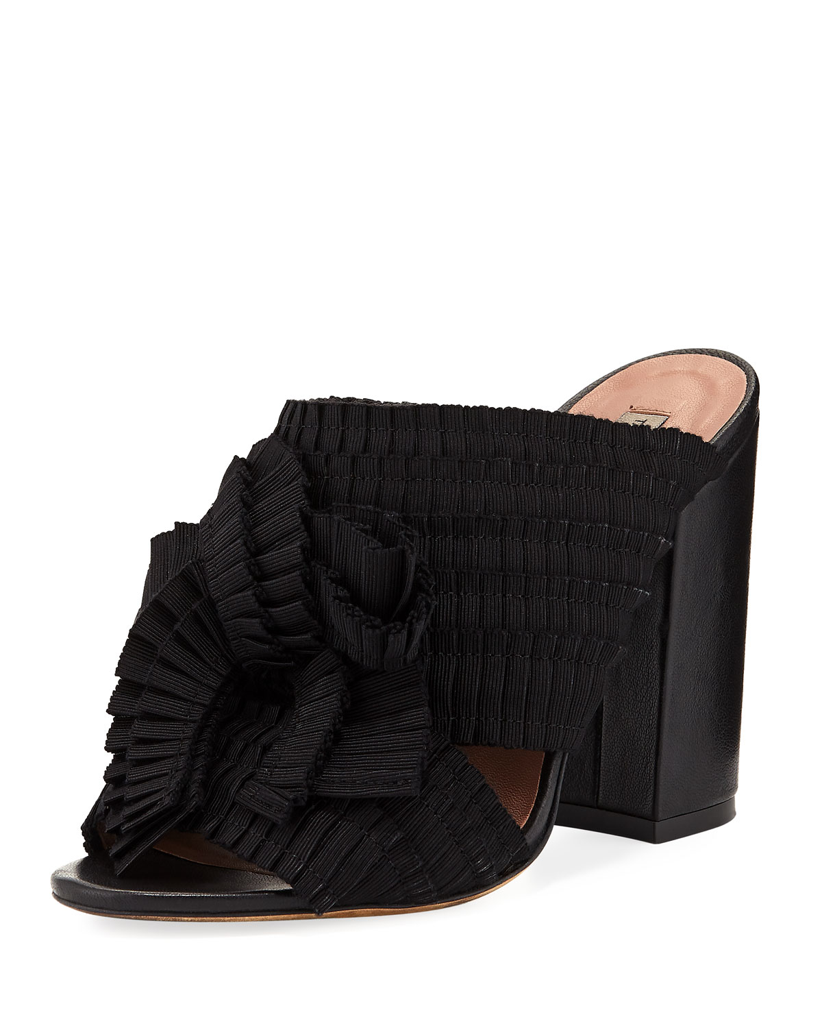 Beau Pleated Block-Heel Mule Sandal