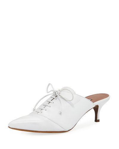 Drew Point-Toe Lace-Up Mule Pump, White