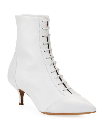 Emmet Leather Point-Toe Lace-Up Ankle Boot