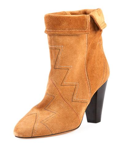 Darilay Zigzag-Stitched Suede Boot