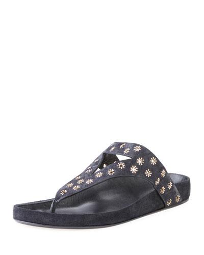 Elbry Eyelet-Studded Suede Thong Sandal
