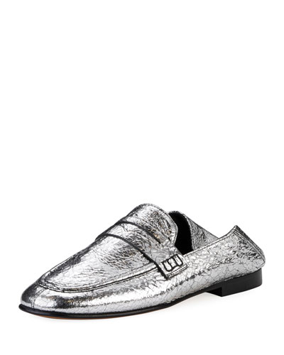 Fezzy Crackled Metallic Loafer Mule