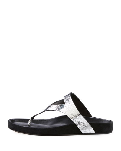 Elbry Metallic Leather Thong Sandal
