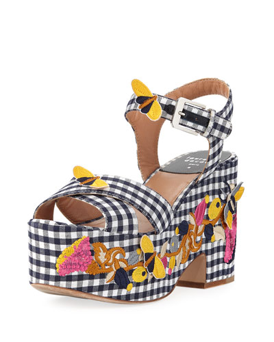 Helissa Embroidered Gingham Platform Sandal