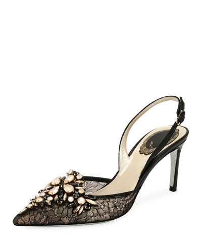 Crystal-Embellished Lace Slingback Pump