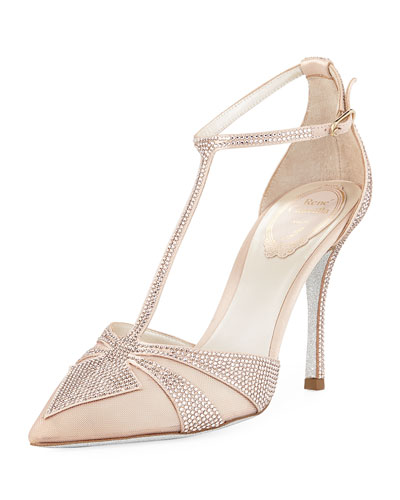 Crystal-Embellished T-Strap 100mm Pump