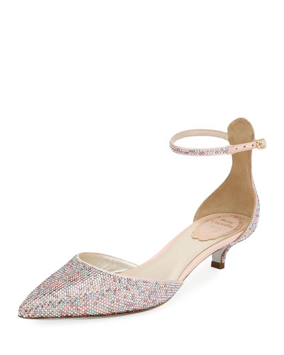 Crystal-Embellished d'Orsay Kitten-Heel Pump