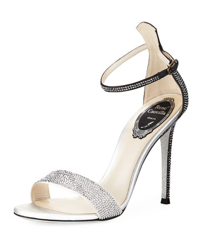 105mm Crystal-Studded Satin Platform Sandal