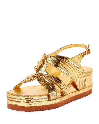 DRIES VAN NOTEN Craquelé Leather Platform-Wedge Sandals in Gold