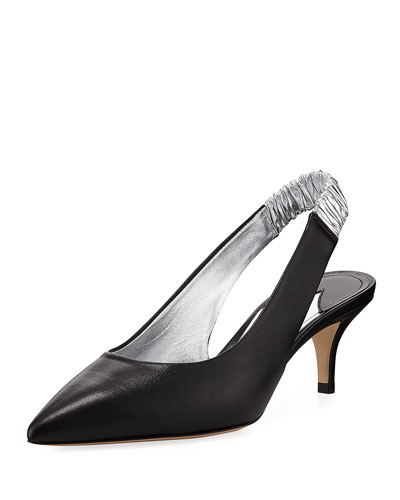 Carpanthian Ruched Slingback Pump