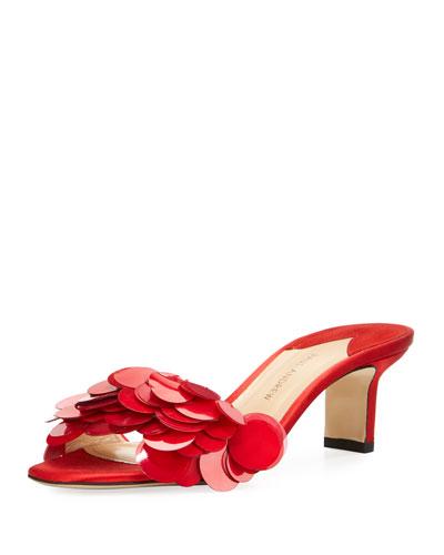 Paillette One-Band Satin Slide Sandal