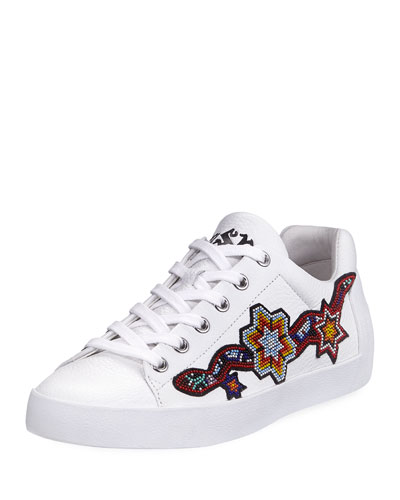 Beaded Leather Low-Top Sneaker