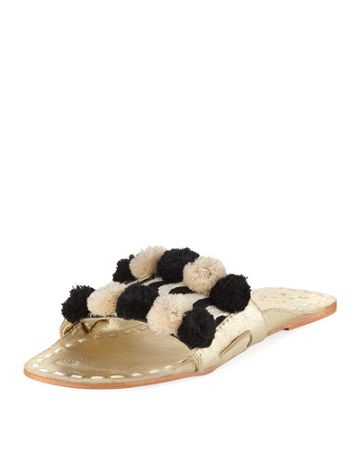 River Striped Pompom Slide Sandal