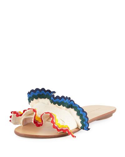 Birdie Flat Ruffled Canvas Slide Sandal