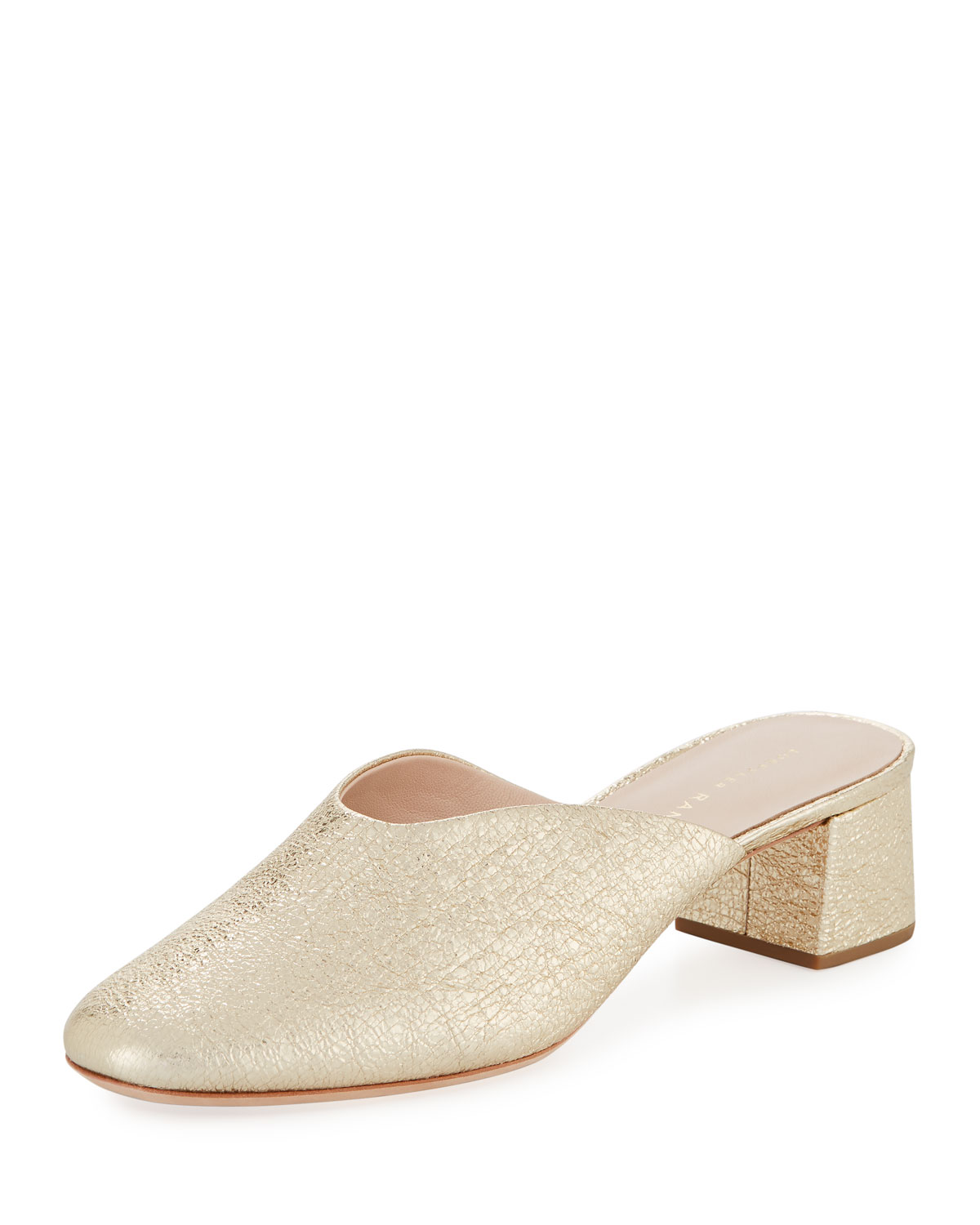 Lulu Metallic Leather Block-Heel Mule Slide