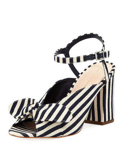 Leigh Striped Canvas Block-Heel Sandal