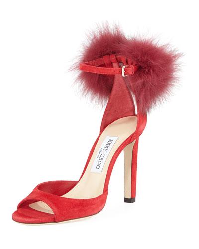 Suri Fur-Trim Suede d'Orsay Sandal