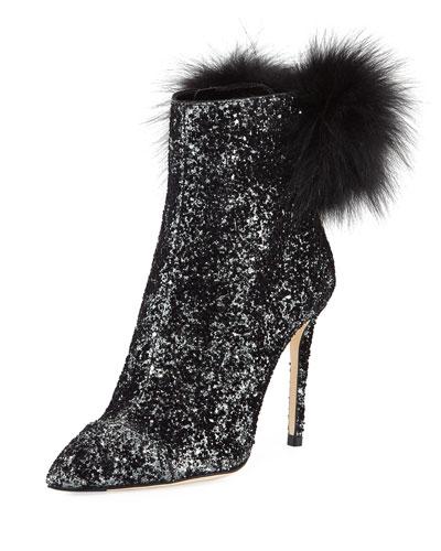 Tesler Glittered Fur-Trim Boot