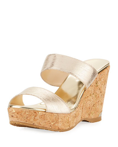 Parker Metallic Two-Band Wedge Sandal