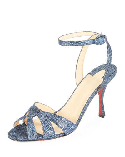 Trezuma 85mm Denim Red Sole Sandal