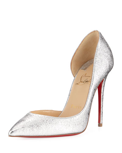 Iriza Metallic Half-d'Orsay Red Sole Pump