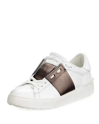 Leather Low-Top Metallic Colorblock Sneaker