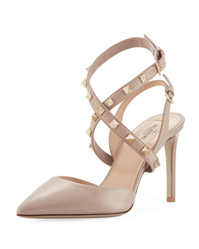 Leather Rockstud Ankle-Wrap Slingback Pump