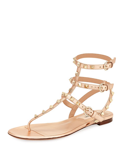 Rockstud Leather Thong Sandal