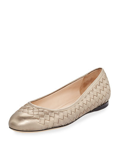 Intrecciato Leather Ballerina Flat