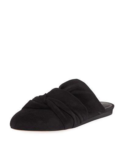 Grey Pleated Suede Mule Slide, Black