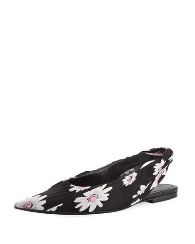 c4e90ff221fe Floral-Print Slingback Flat Quick Look. Balenciaga