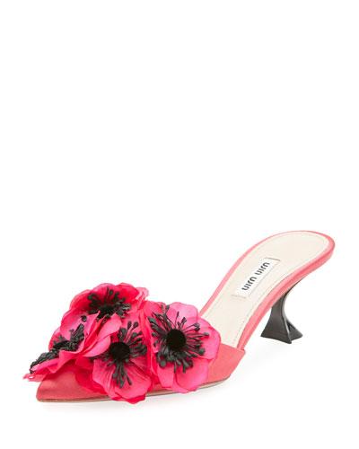 Floral-Embellished Satin Mule Pump