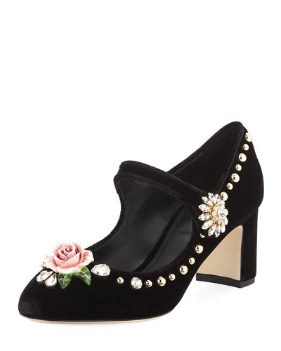 Embellished Velvet Mary Jane Pump