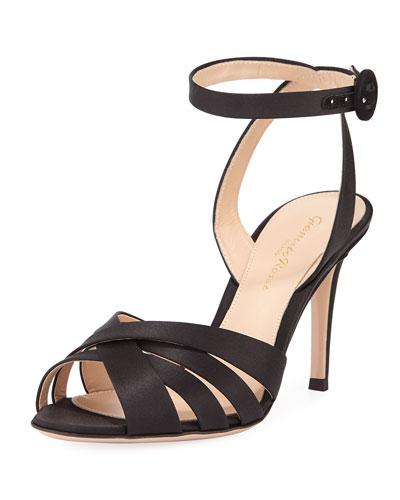 Strappy Satin Ankle-Wrap Sandal