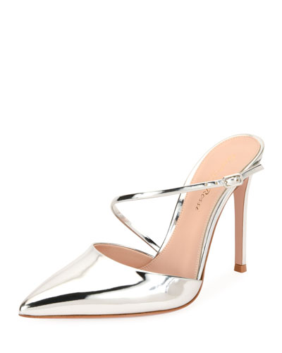 Metallic Point-Toe Mule Pump