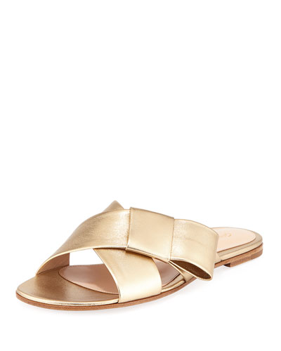 Flat Metallic Ribbon Slide Sandal
