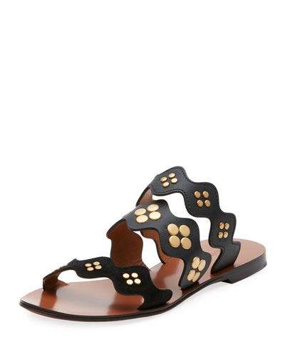 Lauren Studded Three-Band Flat Slide Sandal