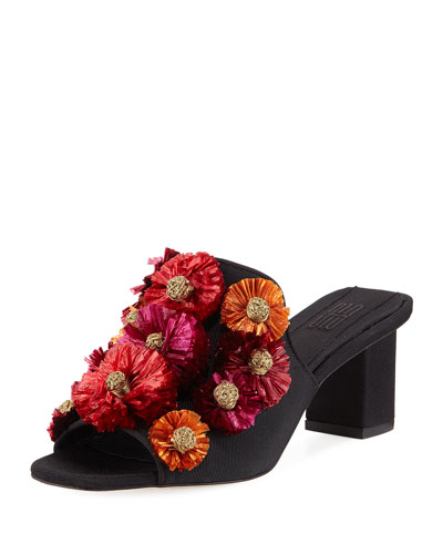 Flora Block-Heel Slide Sandal
