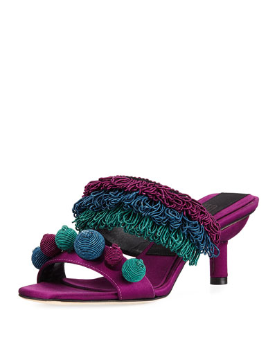Carina Cord-Embroidered Mule Sandal