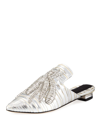 Ragno Embroidered Metallic Mule Slide