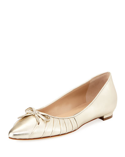 Pleata Point-Toe Ballerina Flat