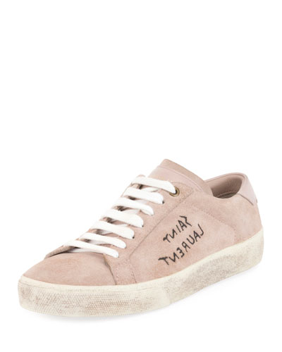 Court Classic Logo-Writing Suede Low-Top Sneaker