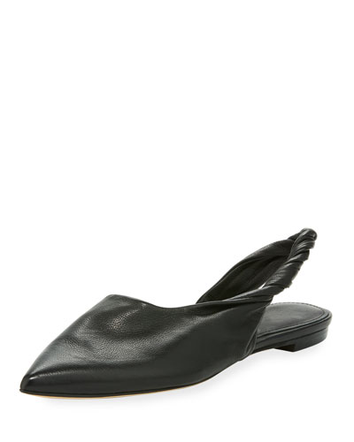 Sham Twisted Leather Slingback Flat