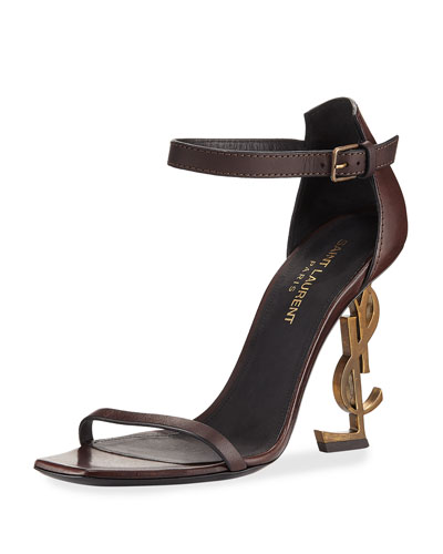 Leather Sandal with Logo Heel